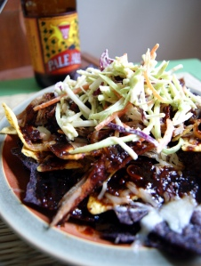 Pulled Pork Nachos with Sriracha Stout BBQ Sauce