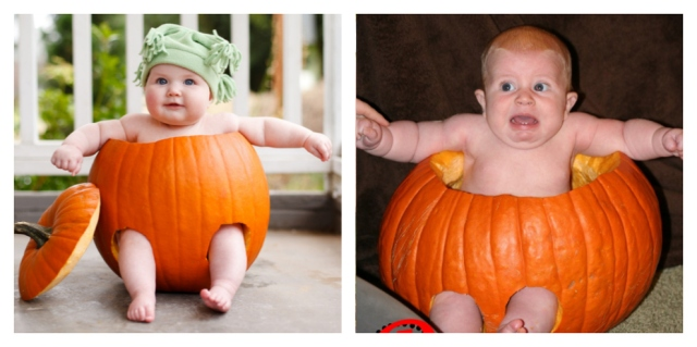 Pinterest Photo Fail Baby in Pumpkin